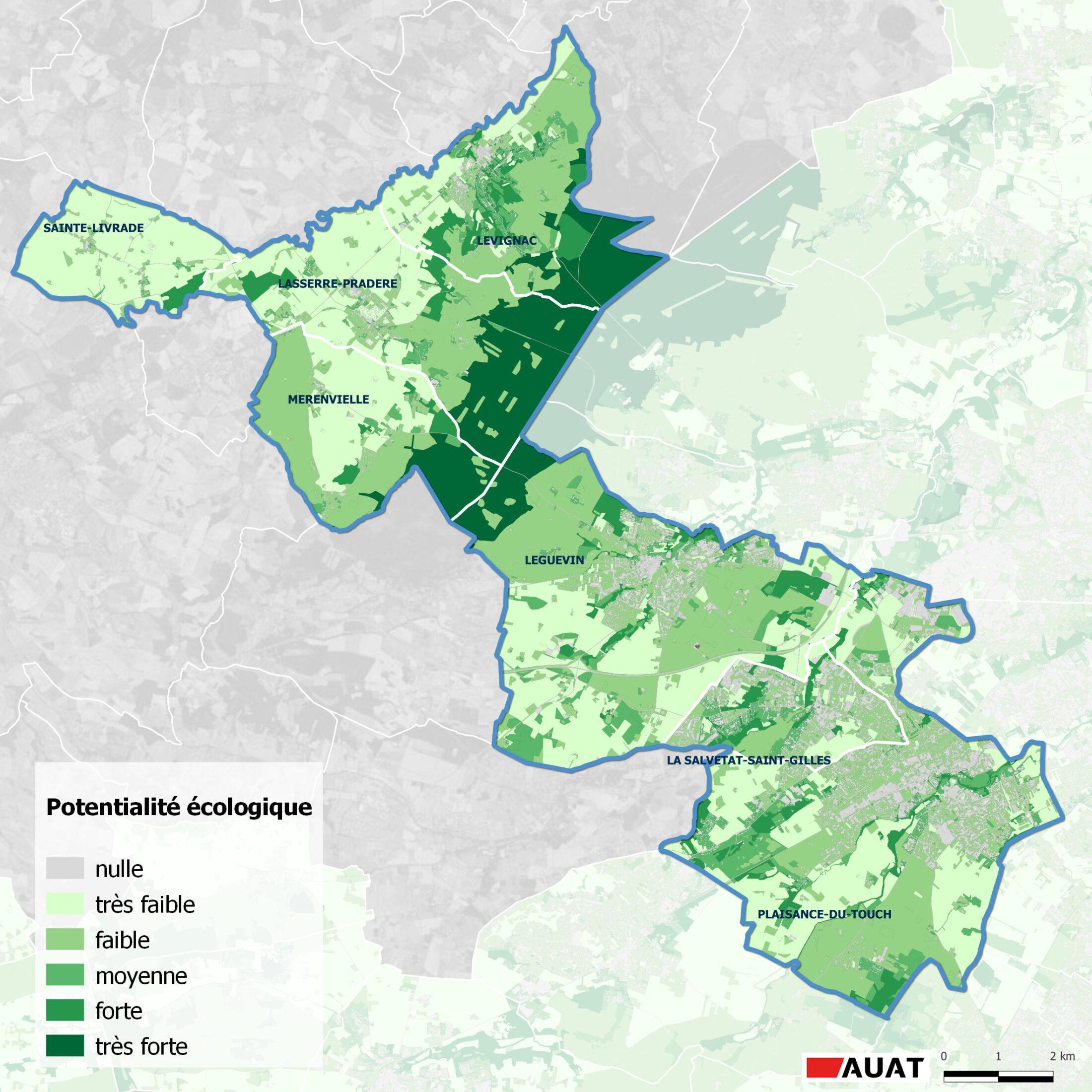 Carte des potentialités écologiques de La Save-au-Touch