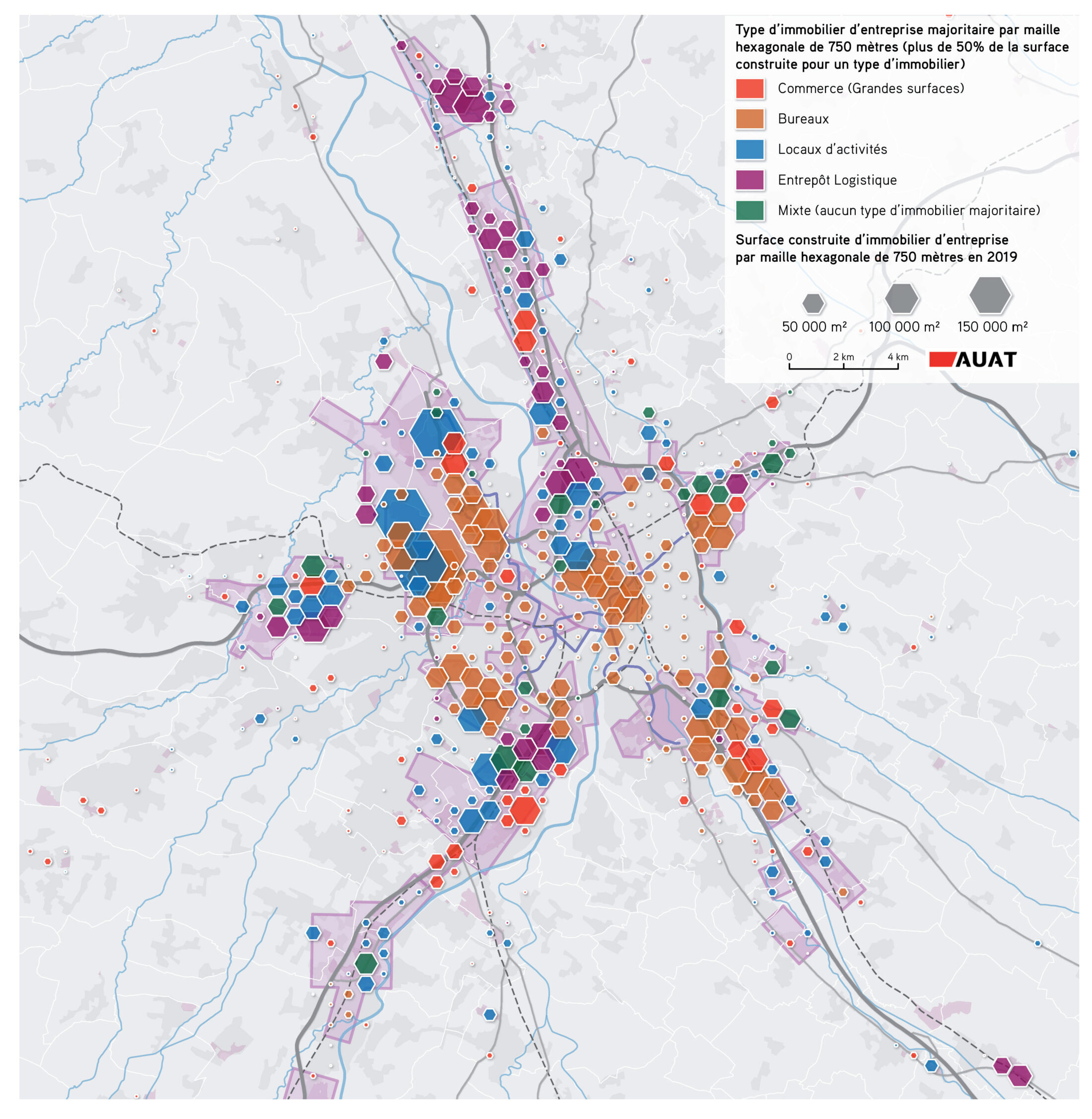 Carte du parc immobilier d'entreprise de l'aire de Toulouse
