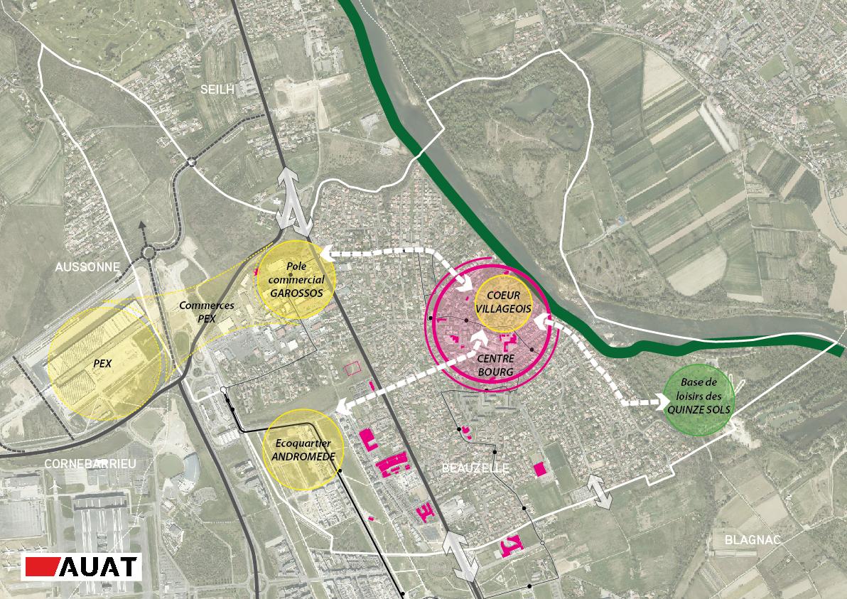 Carte montrant le périmètre de la commune de Beauzelle, son centre-bourg et l'écoquartier Andromètre